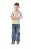 αγόρι που αγκαλιάζει το  Στοκ Φωτογραφία
