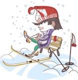 αγόρι που βάζει τα σκι Στοκ φωτογραφία με δικαίωμα ελεύθερης χρήσης