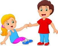 Αγόρι που βοηθά μια στάση κοριτσιών επάνω απεικόνιση αποθεμάτων