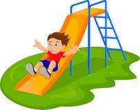 Αγόρι που γλιστρά μέσα το πάρκο διανυσματική απεικόνιση