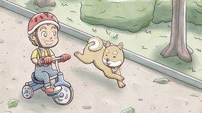 Αγόρι που οδηγά ένα τρίκυκλο ποδήλατο και που ακολουθεί από το σκυλί shiba σε ένα πάρκο Στοκ Φωτογραφία