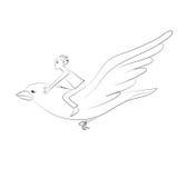 Αγόρι που οδηγά στο πετώντας πουλί Διανυσματικό σκίτσο Στοκ φωτογραφία με δικαίωμα ελεύθερης χρήσης