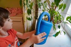 Αγόρι που ποτίζει ένα λουλούδι δωματίων στοκ εικόνα με δικαίωμα ελεύθερης χρήσης