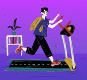 Αγόρι που τρέχει treadmill Άσκηση νεαρών άνδρων Καρδιο κατάρτιση ελεύθερη απεικόνιση δικαιώματος