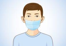 Αγόρι που φορά τη μάσκα αναπνοής ελεύθερη απεικόνιση δικαιώματος