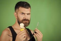 Αγόρι προσώπου για την κάλυψη περιοδικών Πορτρέτο προσώπου ατόμων σε advertisnent σας Το άτομο έκοψε τη γενειάδα και mustache με  Στοκ εικόνα με δικαίωμα ελεύθερης χρήσης