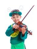 Αγόρι σε ένα κοστούμι grasshopper Στοκ Φωτογραφίες