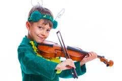 Αγόρι σε ένα κοστούμι grasshopper Στοκ φωτογραφίες με δικαίωμα ελεύθερης χρήσης