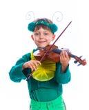Αγόρι σε ένα κοστούμι grasshopper Στοκ εικόνα με δικαίωμα ελεύθερης χρήσης