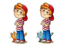Αγόρι σε μια κόκκινη ΚΑΠ και ριγωτή μπλούζα με τη γάτα του Απεικόνιση αποθεμάτων
