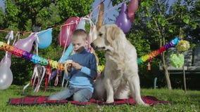 Αγόρι, σκυλί και μπανάνα απόθεμα βίντεο