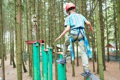 Αγόρι στην αναρρίχηση της δραστηριότητας στο υψηλό δασικό πάρκο καλωδίων Στοκ Εικόνες