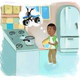 Αγόρι στην κουζίνα ελεύθερη απεικόνιση δικαιώματος