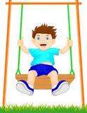 Αγόρι στην ταλάντευση στο πάρκο διανυσματική απεικόνιση