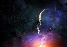Αγόρι στον έναστρο ουρανό Μικτά μέσα Στοκ Φωτογραφίες