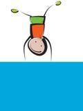Αγόρι στο μπλε έμβλημα Στοκ Φωτογραφίες