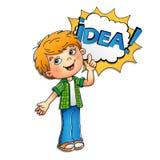 Αγόρι στο πουκάμισο καρό με μια μεγάλη ιδέα που απομονώνεται στο άσπρο backgroun Διανυσματική απεικόνιση