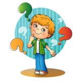 Αγόρι στο πουκάμισο καρό με τις ερωτήσεις Απεικόνιση αποθεμάτων