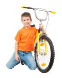 Αγόρι στο ποδήλατο που απομονώνεται Στοκ φωτογραφίες με δικαίωμα ελεύθερης χρήσης
