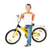 Αγόρι στο ποδήλατο που απομονώνεται Στοκ Εικόνες