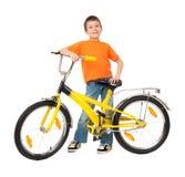 Αγόρι στο ποδήλατο που απομονώνεται Στοκ εικόνες με δικαίωμα ελεύθερης χρήσης