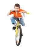 Αγόρι στο ποδήλατο που απομονώνεται Στοκ εικόνα με δικαίωμα ελεύθερης χρήσης