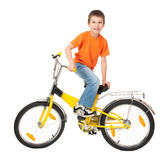 Αγόρι στο ποδήλατο που απομονώνεται Στοκ Εικόνα
