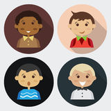 Αγόρι τέσσερα κινούμενων σχεδίων άνθρωποι Στοκ εικόνα με δικαίωμα ελεύθερης χρήσης