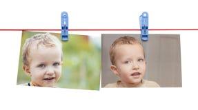 Αγόρι φωτογραφιών σε ένα σχοινί με ένα clothespin σε ένα άσπρο υπόβαθρο Στοκ Φωτογραφία