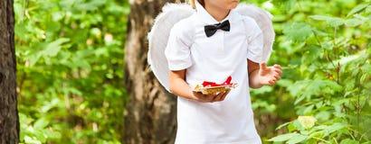 Αγόρι cupid με τα φτερά αγγέλου Στοκ Εικόνα