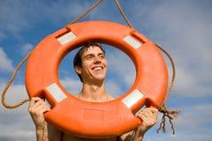 αγόρι lifebuoy Στοκ φωτογραφίες με δικαίωμα ελεύθερης χρήσης