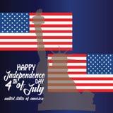 Αγύρτης για 4ο του Ιουλίου με τη αμερικανική σημαία και το κομφετί Εορτασμός ΑΜΕΡΙΚΑΝΙΚΗΣ ημέρας της ανεξαρτησίας με τη αμερικανι στοκ φωτογραφίες