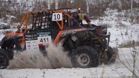 Αγώνας ATV στη χειμερινή εποχή Αθλητικός ανταγωνισμός Ρωσία, στις 27 Ιανουαρίου 2018 απόθεμα βίντεο