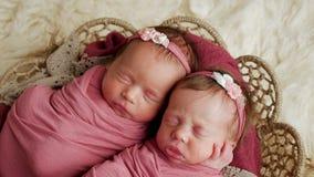 Αδελφές διδύμων νεογέννητες στο τύλιγμα και σε ένα καλάθι στοκ φωτογραφία με δικαίωμα ελεύθερης χρήσης