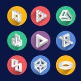 Αδύνατες μορφές, οπτικά διανυσματικά σύμβολα αντικειμένων παραίσθησης Στοκ Φωτογραφία