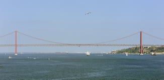 Αερακιού αστεριών κρουαζιερών Windstar κάτω από τη γέφυρα στις 25 Απριλίου στοκ φωτογραφία με δικαίωμα ελεύθερης χρήσης