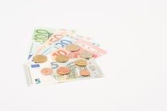 Αερισμένα ευρο- χαρτονομίσματα και νομίσματα Στοκ φωτογραφία με δικαίωμα ελεύθερης χρήσης