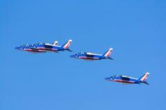 Αεριωθούμενα αεροπλάνα Patrouille de Γαλλία Στοκ Φωτογραφία