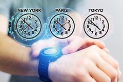 Αεριωθούμενη έννοια καθυστερήσεων με το διαφορετικό χρόνο ώρας πέρα από ένα smartwatch Στοκ εικόνα με δικαίωμα ελεύθερης χρήσης