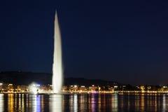 Αεριωθούμενη προβολή ύδατος d'eau de Genève Γενεύη Στοκ Εικόνες