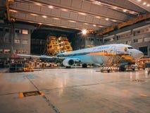Αεριωθούμενο αεροπλάνο εναέριων διαδρόμων στο υπόστεγο στοκ εικόνες