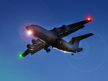 Αεριωθούμενο αεροπλάνο τη νύχτα Στοκ Εικόνες