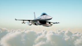 Αεριωθούμενο αεροπλάνο, μαχητής που πετά πέρα από τα σύννεφα Πόλεμος και έννοια όπλων τρισδιάστατη απόδοση Στοκ Εικόνα