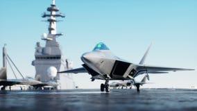 Αεριωθούμενο αεροπλάνο, μαχητής στο αεροπλανοφόρο στη θάλασσα, ωκεανός Πόλεμος και έννοια όπλων Ρεαλιστική 4K ζωτικότητα απεικόνιση αποθεμάτων
