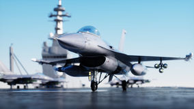 Αεριωθούμενο F-16, μαχητής στο αεροπλανοφόρο στη θάλασσα, ωκεανός Πόλεμος και έννοια όπλων τρισδιάστατη απόδοση Στοκ φωτογραφία με δικαίωμα ελεύθερης χρήσης