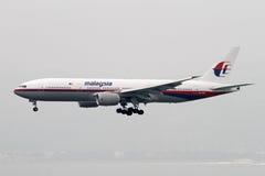 Αερογραμμές της Μαλαισίας που χάνουν το αεριωθούμενο αεροπλάνο του Boeing 777-200 Στοκ Εικόνες