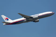 Αερογραμμές Boeing της Μαλαισίας 777-200 αεροσκάφη αδελφών του συντριφθε'ντος σχεδίου Στοκ Φωτογραφίες