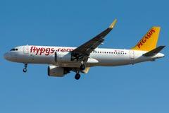 Αερογραμμές TC-NBA Pegasus, airbus A320-200N που ονομάζεται DEMOKRASI Στοκ εικόνα με δικαίωμα ελεύθερης χρήσης