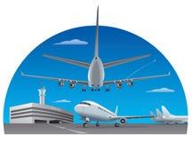 Αερολιμένας και αεροπλάνα απεικόνιση αποθεμάτων