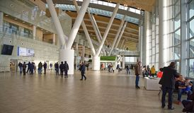 Αερολιμένας, που χτίζεται για το Παγκόσμιο Κύπελλο της FIFA το 2018 Οι επιβάτες α Στοκ Φωτογραφίες
